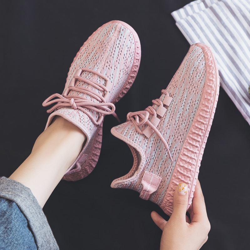 粉红色松糕鞋 小白运动跑步鞋女银灰色跑鞋小白鞋轻便潮流跳舞鞋粉红网状松糕底_推荐淘宝好看的粉红色松糕鞋