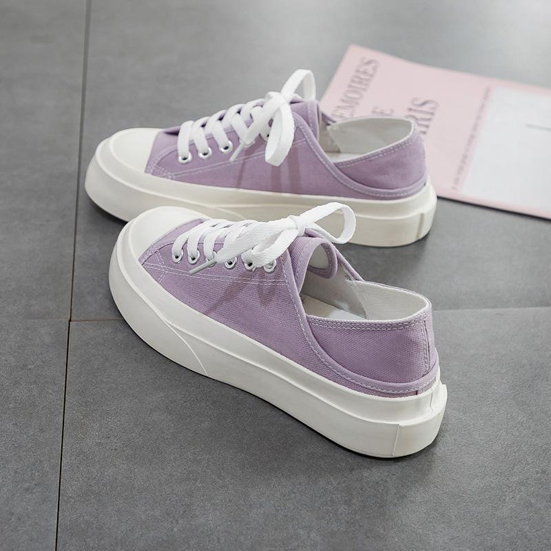 紫色松糕鞋 紫色大头半拖帆布鞋女夏季薄款学生透气松糕厚底板鞋两穿丑萌鞋子_推荐淘宝好看的紫色松糕鞋