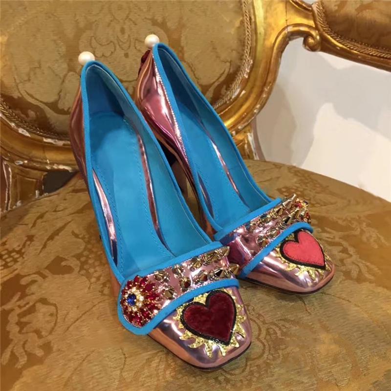 紫色单鞋 铆钉刺绣桃心方头真皮高跟鞋 复古蓝色粗跟单鞋 粉紫色女鞋巴洛克_推荐淘宝好看的紫色单鞋