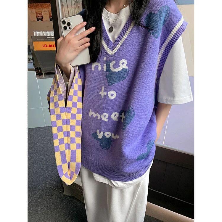 紫色马甲 学院风紫色v领慵懒宽松针织马甲女2021春秋新款无袖外搭背心毛衣_推荐淘宝好看的紫色马甲