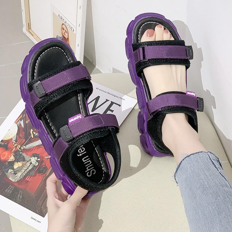紫色鱼嘴鞋 紫色凉鞋女网红厚底超火2020夏季新款韩版百搭仙女风露趾沙滩鞋潮_推荐淘宝好看的紫色鱼嘴鞋