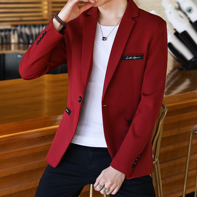 红色小西装 西装男士外套秋季青年韩版学生帅气单上衣红色小西装男休闲西服潮_推荐淘宝好看的红色小西装