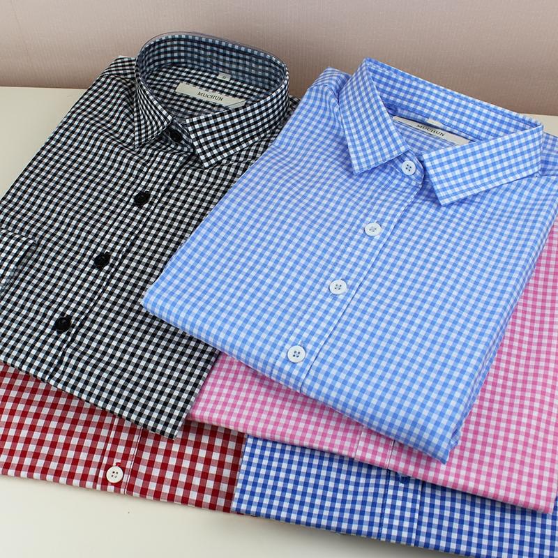 绿色衬衫 品质黑白格子衬衫女长袖宽松大码蓝色粉色红色绿色小格子衬衣纯棉_推荐淘宝好看的绿色衬衫