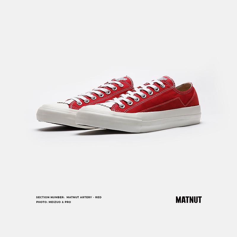 红色帆布鞋 Matnut Artery 红色经典低帮百搭原创小众时尚潮流休闲系带帆布鞋_推荐淘宝好看的红色帆布鞋