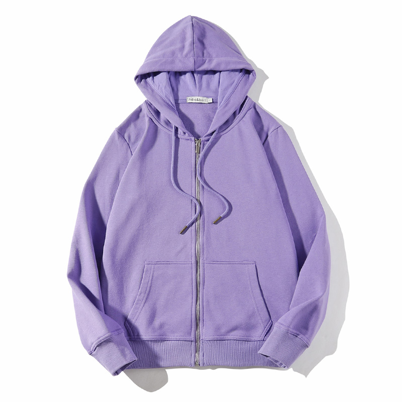 紫色卫衣 春秋装拉链卫衣女开衫连帽薄款上衣2021新款紫色帽衫运动宽松外套_推荐淘宝好看的紫色卫衣