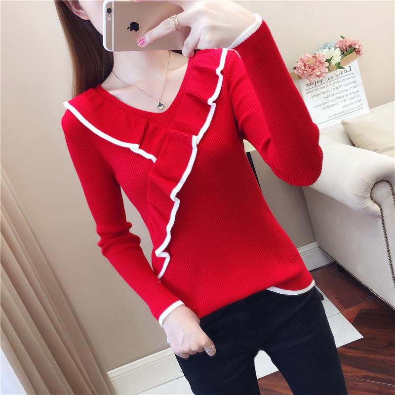 红色针织衫 红色毛衣女2021新款秋装V领荷叶边针织衫洋气内搭长袖打底衫外穿_推荐淘宝好看的红色针织衫