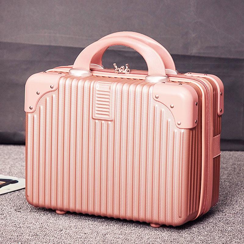 粉红色迷你包 复古迷你手提箱14寸化妆箱结婚陪嫁旅行小箱子化妆包登机行李箱女_推荐淘宝好看的粉红色迷你包