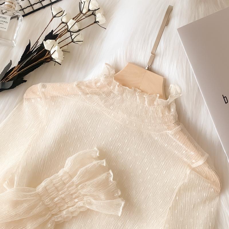 白色雪纺衫 网纱上衣女春秋新款白色高领雪纺蕾丝打底衫长袖薄款内搭洋气纱衣_推荐淘宝好看的白色雪纺衫