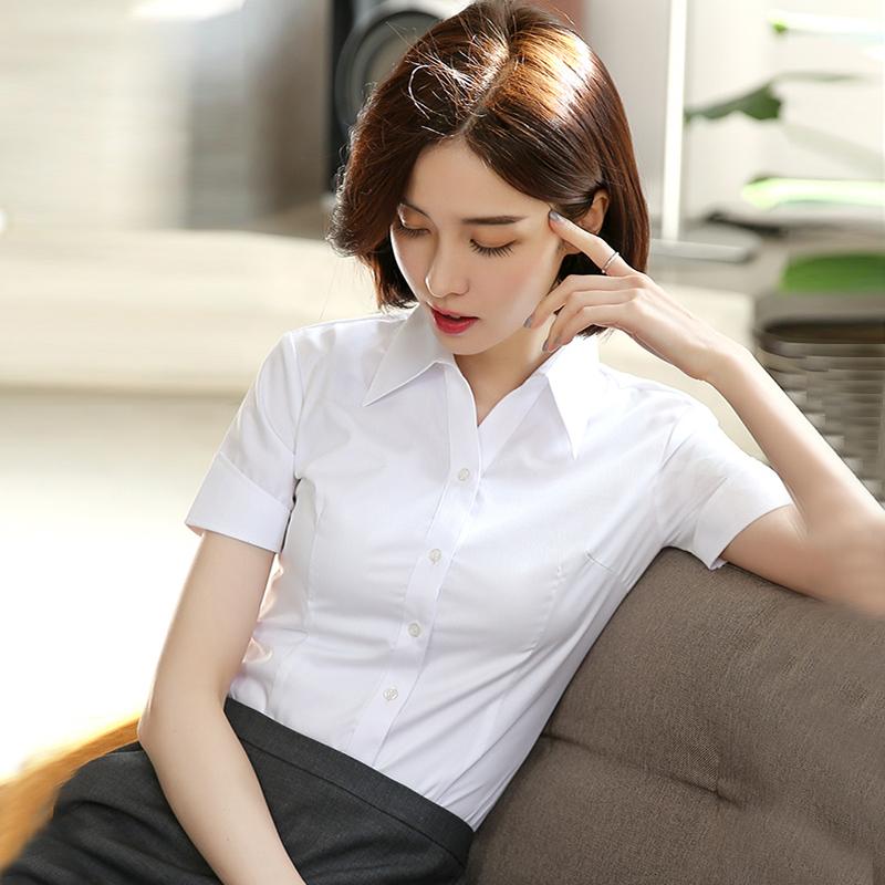 女士短袖衬衣 铂恩白衬衫女短袖2021夏新款韩版女装衬衣免烫工装工作服半袖上衣_推荐淘宝好看的女短袖衬衣