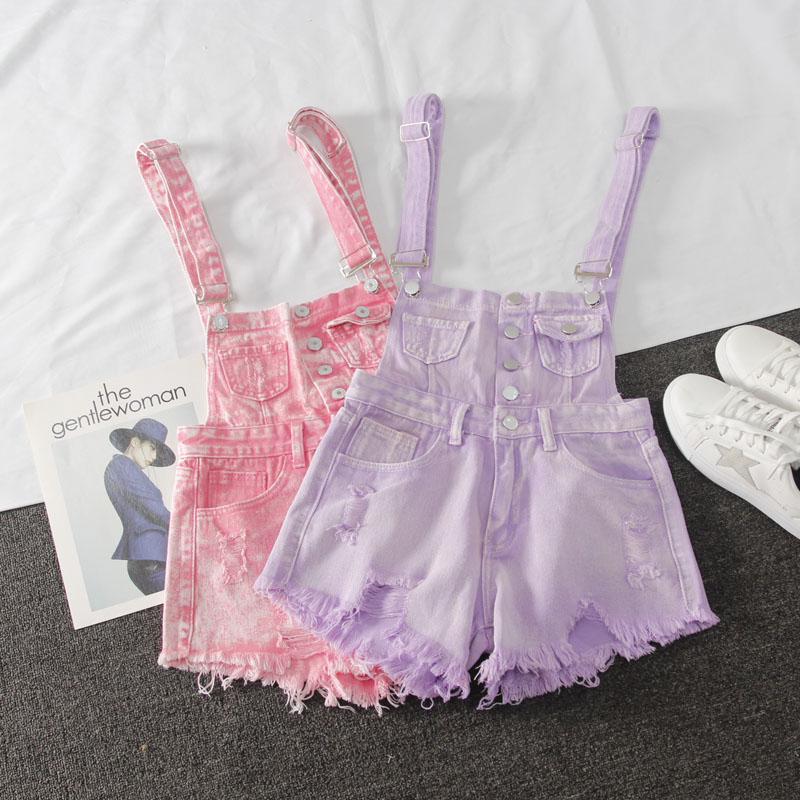 紫色牛仔裤 排扣破洞多口袋牛仔背带短裤女2020夏季新款韩版紫色吊带连体短裤_推荐淘宝好看的紫色牛仔裤
