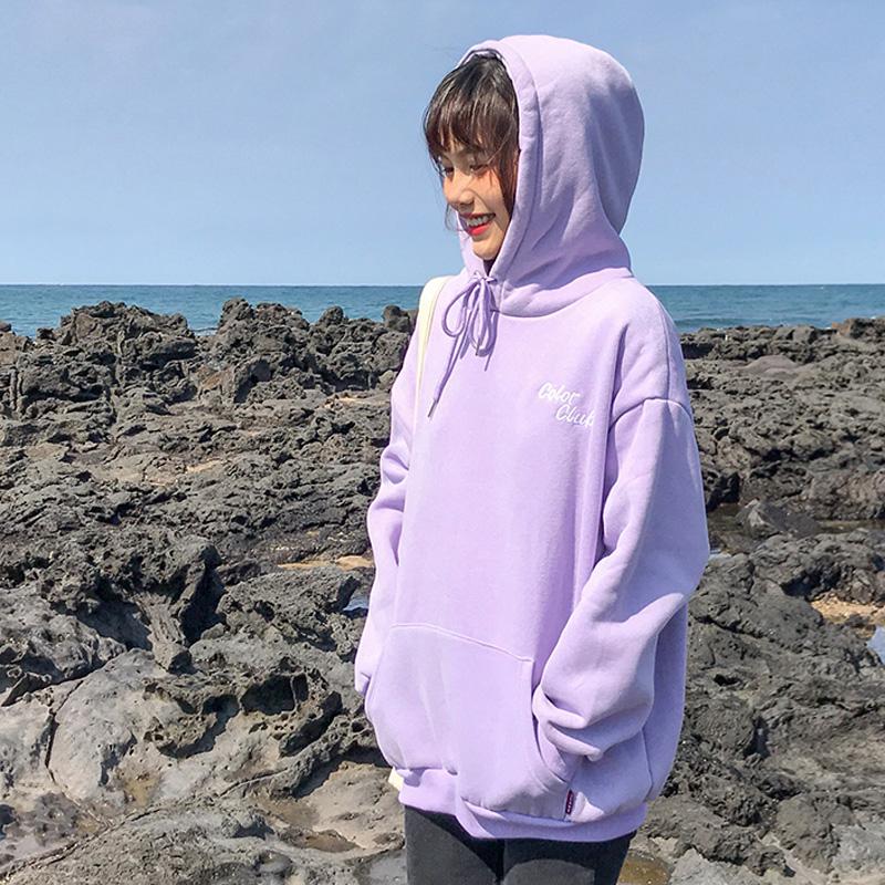 紫色卫衣 百思朵韩版加绒淡紫色香芋紫色连帽卫衣女字母百搭宽松学生外套秋_推荐淘宝好看的紫色卫衣
