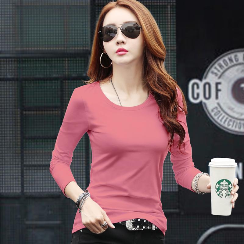 粉红色T恤 粉红色长袖t恤女修身纯棉2021新款打底衫百搭韩版白色上衣女秋装_推荐淘宝好看的粉红色T恤