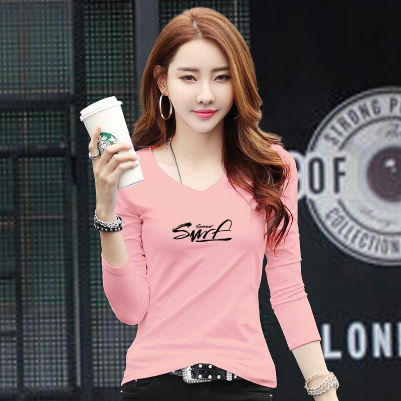 粉红色T恤 2021春季新款打底衫女长袖T恤女修身纯棉内搭外穿粉红色显瘦上衣_推荐淘宝好看的粉红色T恤