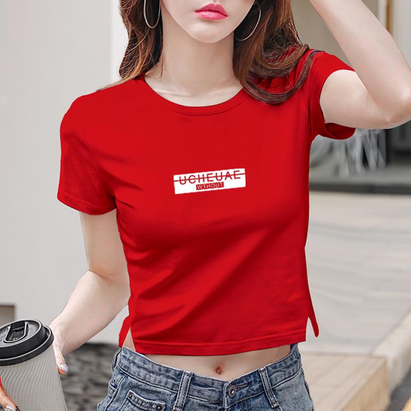 红色T恤 短款t恤女短袖大红色修身漏肚脐高腰性感显瘦紧身半袖露脐上衣女_推荐淘宝好看的红色T恤