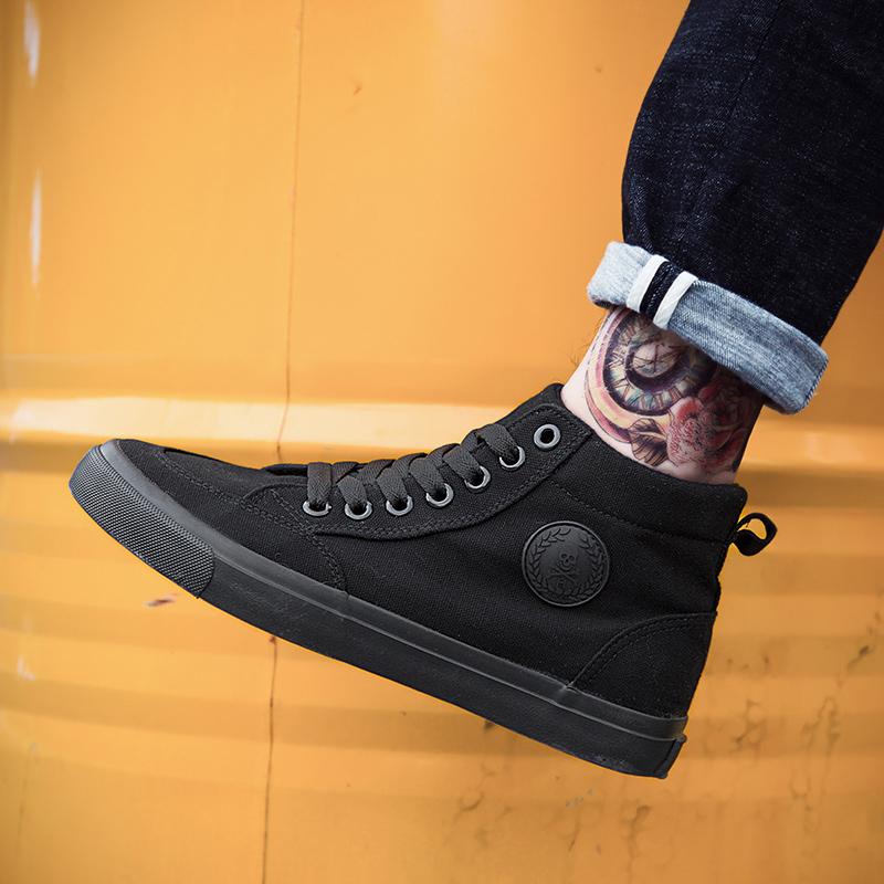 黑色平底鞋 男鞋潮鞋春季纯黑色高帮鞋帆布鞋男百搭休闲平底板鞋全黑工作鞋子_推荐淘宝好看的黑色平底鞋