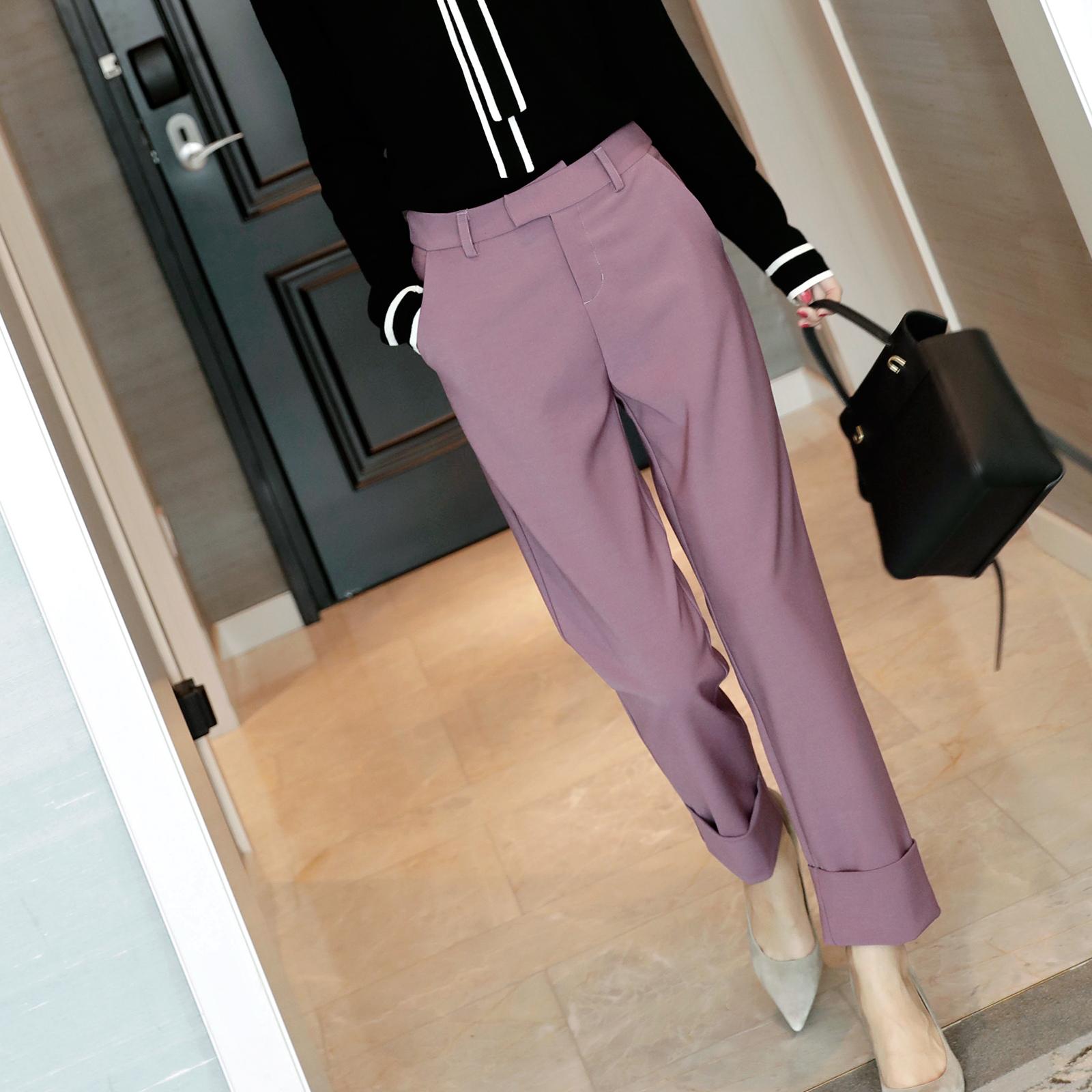 紫色休闲裤 实力美腿!时髦精BI入!脚口翻边 紫色小直筒西装裤 休闲裤 春新_推荐淘宝好看的紫色休闲裤