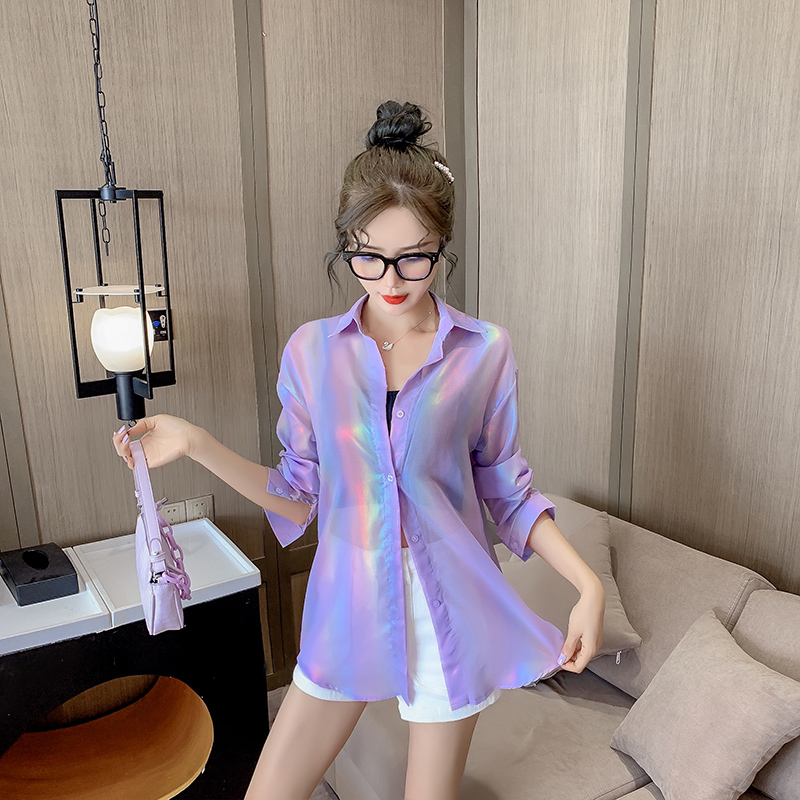 白色衬衫 盐系防晒衣服衬衫新女宽松中长款袖紫色衬设计感小众轻熟防紫外线_推荐淘宝好看的白色衬衫