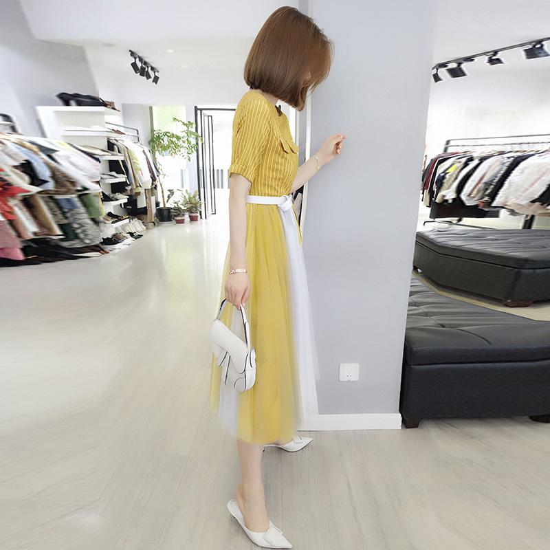 黄色连衣裙 欧洲站夏装女装2021新款欧货洋气仙女气质收腰时尚黄色网纱连衣裙_推荐淘宝好看的黄色连衣裙