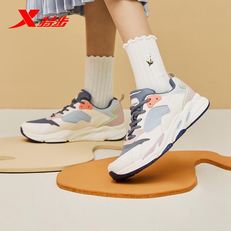 特步运动鞋 特步女鞋2021年秋季新款女运动鞋网面透气跑步鞋休闲鞋老爹鞋女_推荐淘宝好看的女特步运动鞋