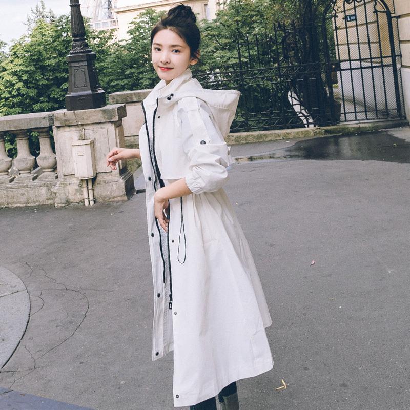 白色风衣 白色风衣女2021春过膝长款春秋季新款韩版修身抽绳中长款连帽外套_推荐淘宝好看的白色风衣