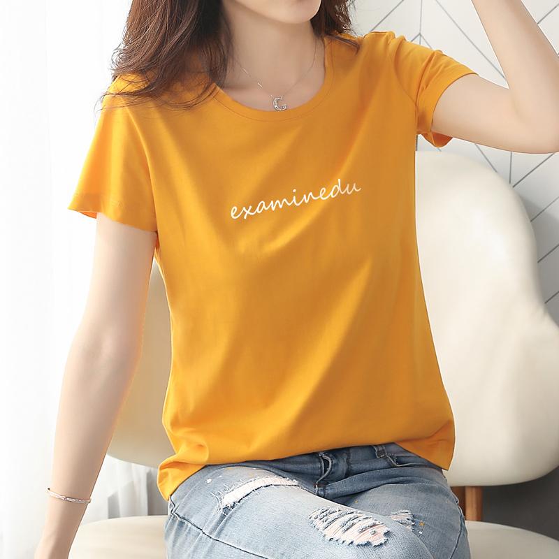 粉红色T恤 短袖t恤女宽松纯棉2020年新款夏季装韩版潮体桖女士短款上衣白色_推荐淘宝好看的粉红色T恤