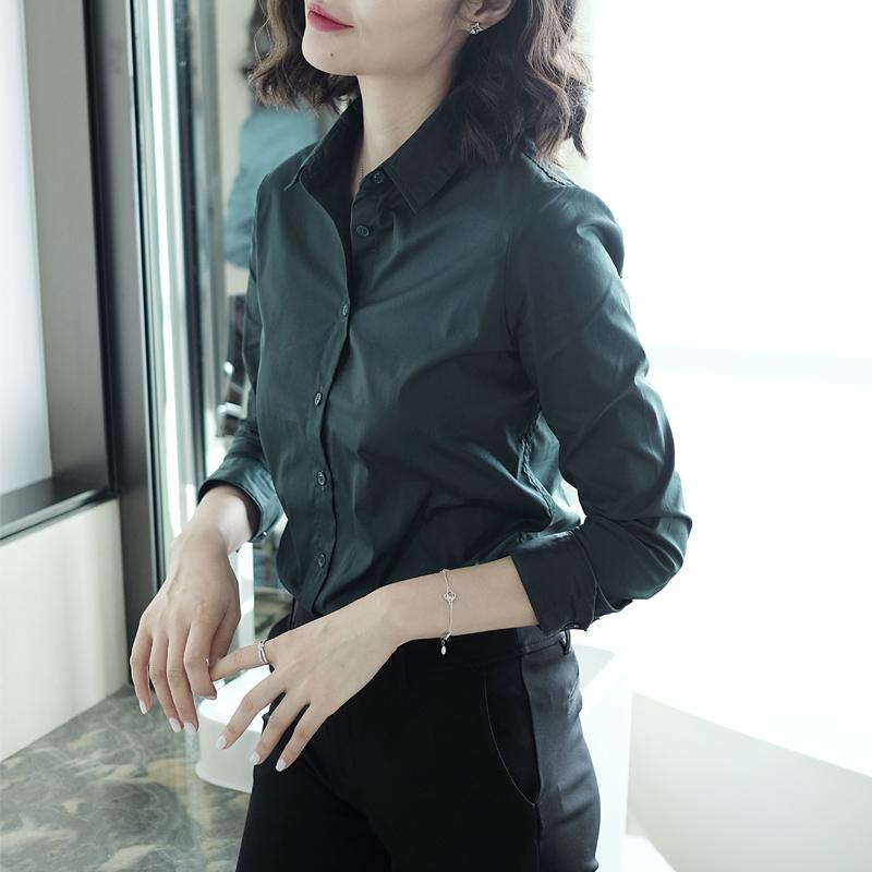 绿色衬衫 美如初见墨绿色衬衫女很仙的洋气上衣女春季新款显瘦长袖衬衣_推荐淘宝好看的绿色衬衫