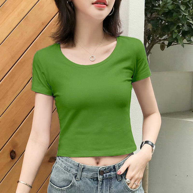 绿色T恤 短款露脐绿色t恤女短袖漏肚脐紧身高腰性感黑色上衣服2021年夏季_推荐淘宝好看的绿色T恤
