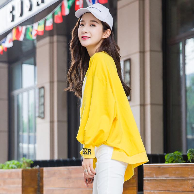 黄色卫衣 黄色短款卫衣女宽松韩版前短后长ins休闲上衣2021新款春秋季薄款_推荐淘宝好看的黄色卫衣