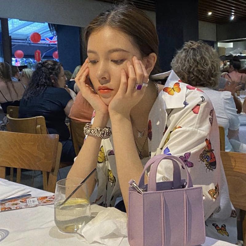 紫色迷你包 2020新款韩版紫色包小方包周雨彤cc明星同款简约拼接迷你手提包女_推荐淘宝好看的紫色迷你包