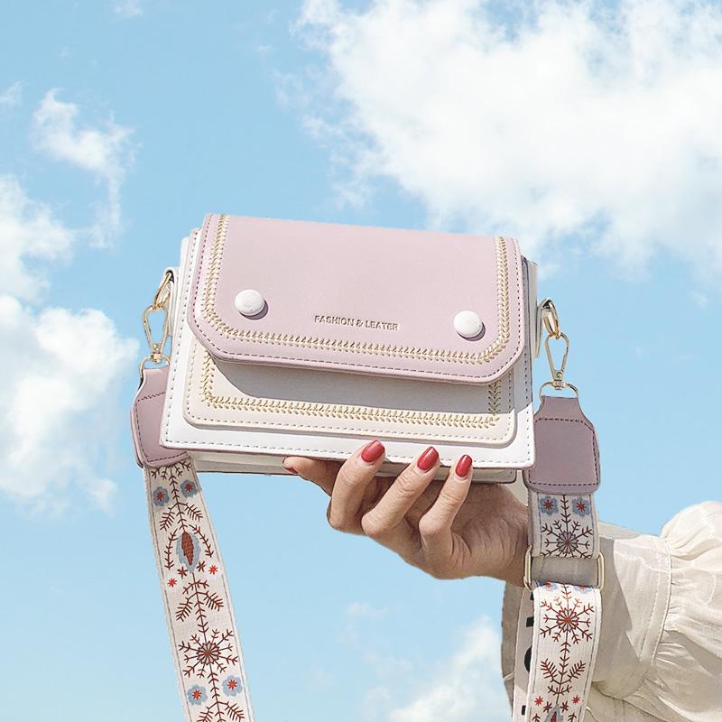 紫色斜挎包 包包女包2020新款潮百搭宽带斜挎包法国小众精致小巧马卡龙单肩包_推荐淘宝好看的紫色斜挎包