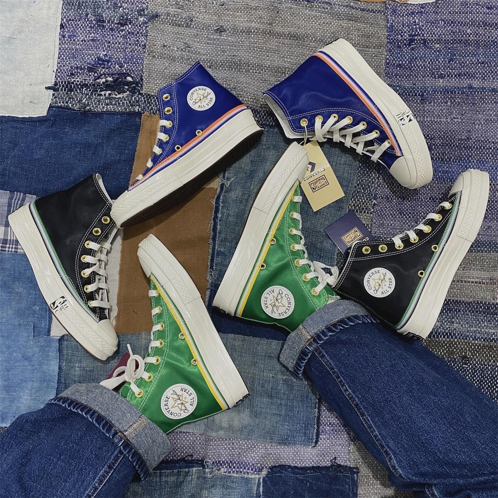 绿色高帮鞋 匡威1970sNBA限量联名黑蓝绿色丝绸高帮帆布鞋男女167060c167057c_推荐淘宝好看的绿色高帮鞋