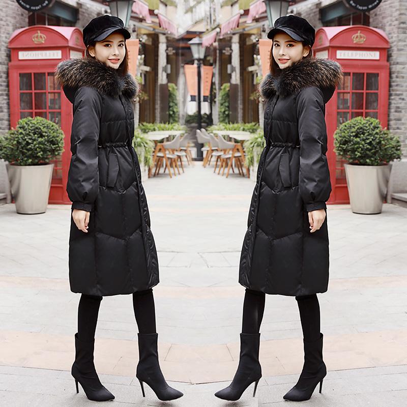 羽绒服 羽绒服女中长款2019冬季新款韩版黑色修身显瘦彩色大毛领加厚外套_推荐淘宝好看的女羽绒服
