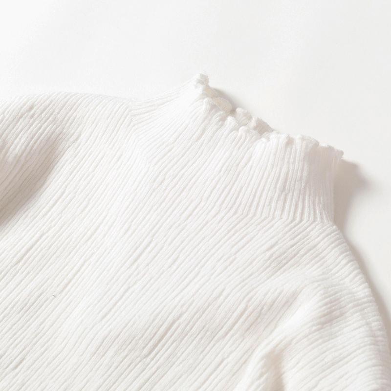 白色针织衫 木耳边白色针织上衣 长袖毛衣女内搭套头衫 纯色半高领秋冬打底衫_推荐淘宝好看的白色针织衫