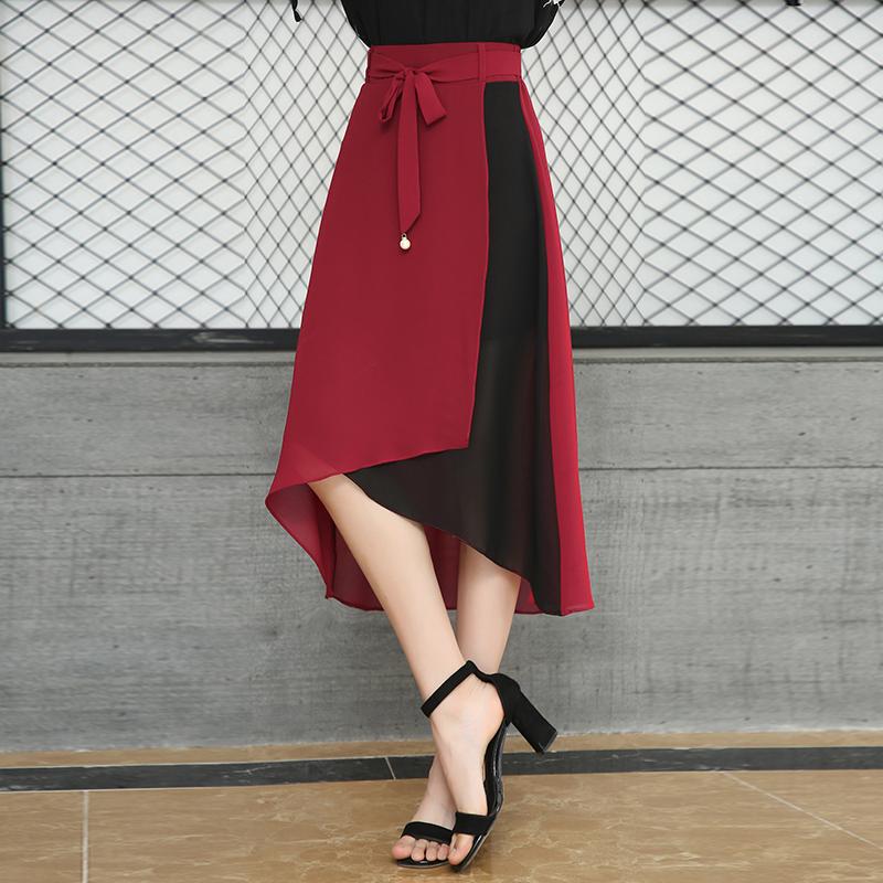 女式半身长裙 不规则雪纺裙个性拼色半身裙2021夏季新款高腰前长后短裙子中长裙_推荐淘宝好看的半身长裙
