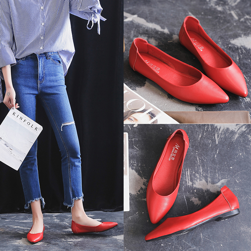 红色豆豆鞋 暗红色女单鞋2020春款女鞋真皮平底豆豆鞋牛皮尖头奶奶鞋软底软面_推荐淘宝好看的红色豆豆鞋