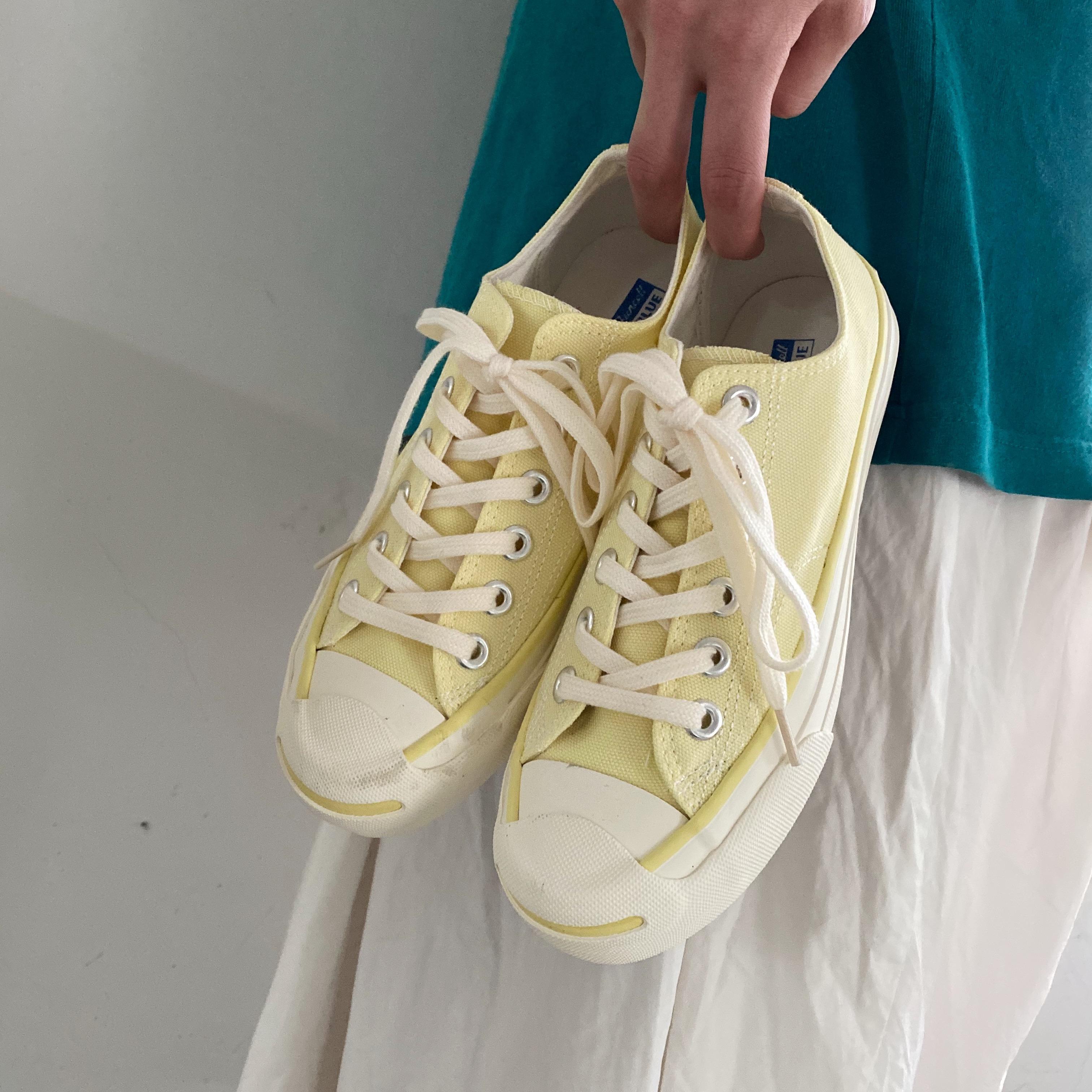 黄色帆布鞋 小黄桃韩国MSOHE帆布鞋ins港味万年款经典开口笑女鞋奶黄色板鞋夏_推荐淘宝好看的黄色帆布鞋
