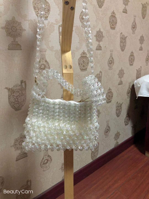 白色贝壳包 手工串珠女包贝壳珠珠装饰单肩斜挎包diy包包白色_推荐淘宝好看的白色贝壳包