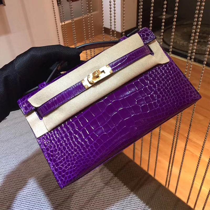 紫色手拿包 全手工定制纯进口方块美洲鳄鱼皮mini凯莉包一代女手拿包水晶紫色_推荐淘宝好看的紫色手拿包