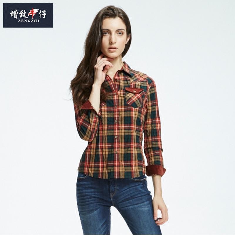 格子衬衫 【买一送一】秋冬季增致牛仔女装长袖格子衬衣修身显瘦衬衫282008_推荐淘宝好看的女格子衬衫