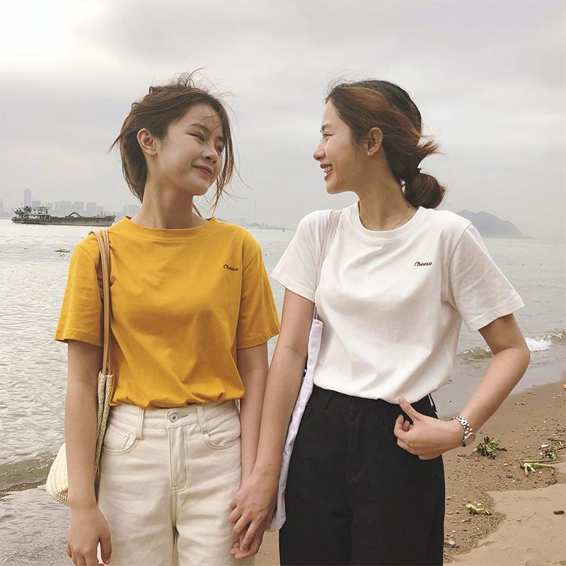 黄色T恤 虎牙犬牙 白色短袖T恤女洋气2021年夏季新款潮内搭纯棉打底衫黄色_推荐淘宝好看的黄色T恤