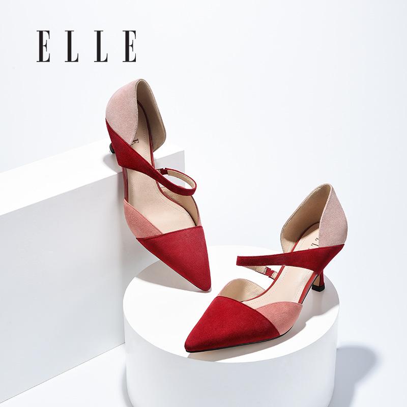 红色凉鞋 elle【爆款】女鞋红色真皮拼色凉鞋新款夏季包头时装尖头高跟鞋_推荐淘宝好看的红色凉鞋