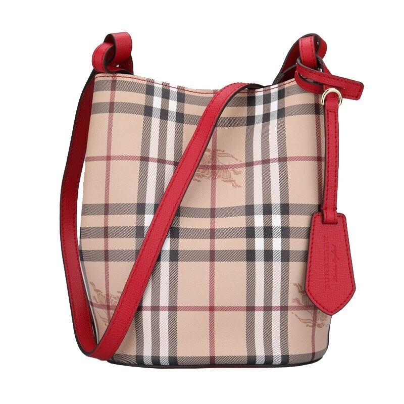 巴宝莉水桶包 BURBERRY博柏利驼色女士小牛皮格纹经典水桶包单肩包 40571571_推荐淘宝好看的巴宝莉水桶包