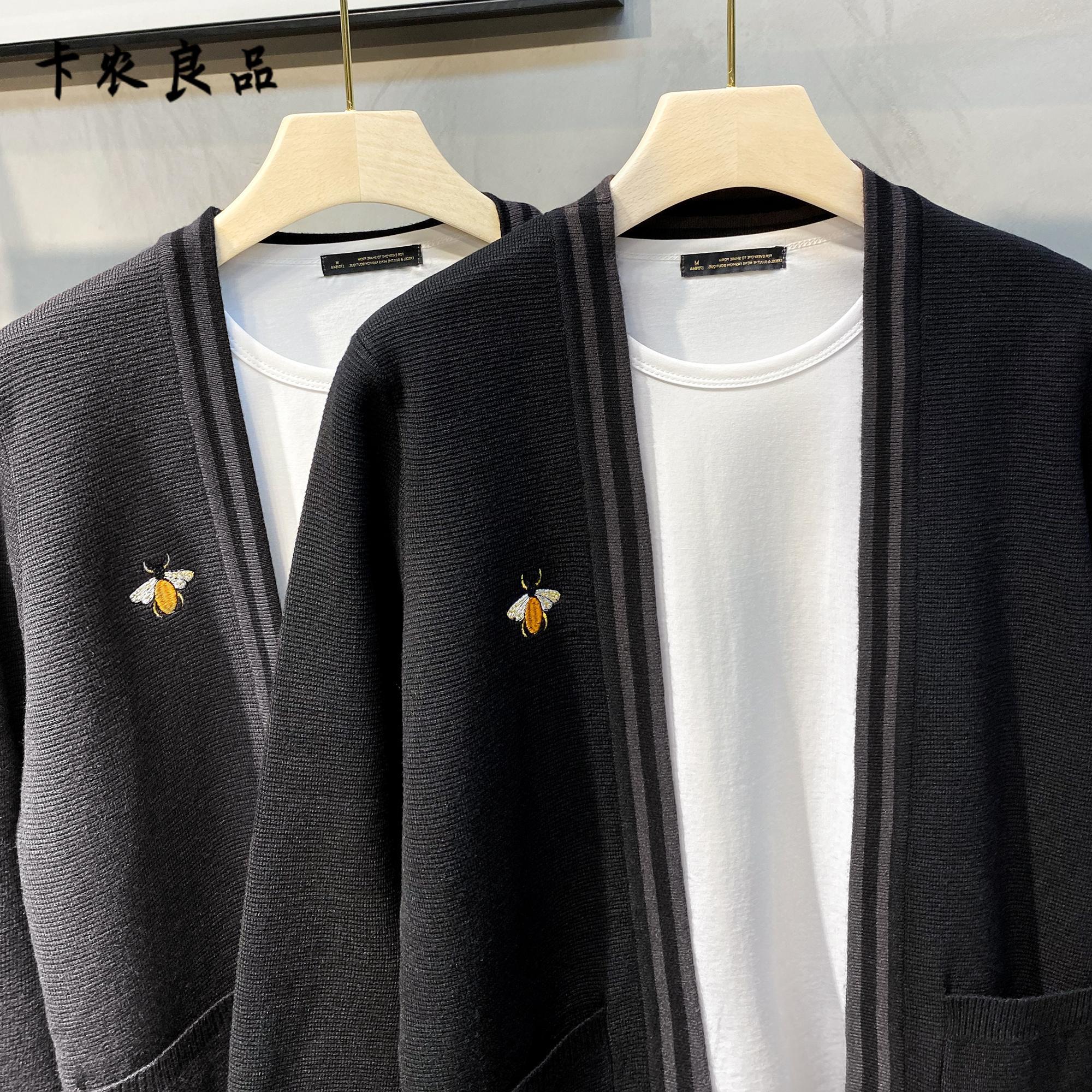 针织夹克 欧洲站2021新款秋季男士开衫针织衫修身夹克刺绣毛衣外套韩版潮流_推荐淘宝好看的男针织夹克