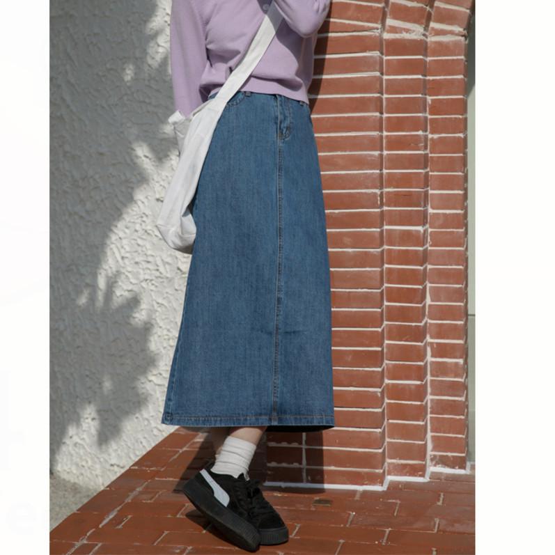 牛仔半身长裙 开叉牛仔半身裙女2020春装新款复古港味高腰显瘦中长裙_推荐淘宝好看的牛仔半身长裙