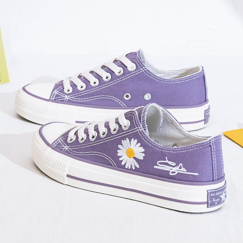 紫色帆布鞋 紫色小雏菊帆布鞋女鞋2021夏季新款薄款布鞋百搭韩版低帮小白板鞋_推荐淘宝好看的紫色帆布鞋