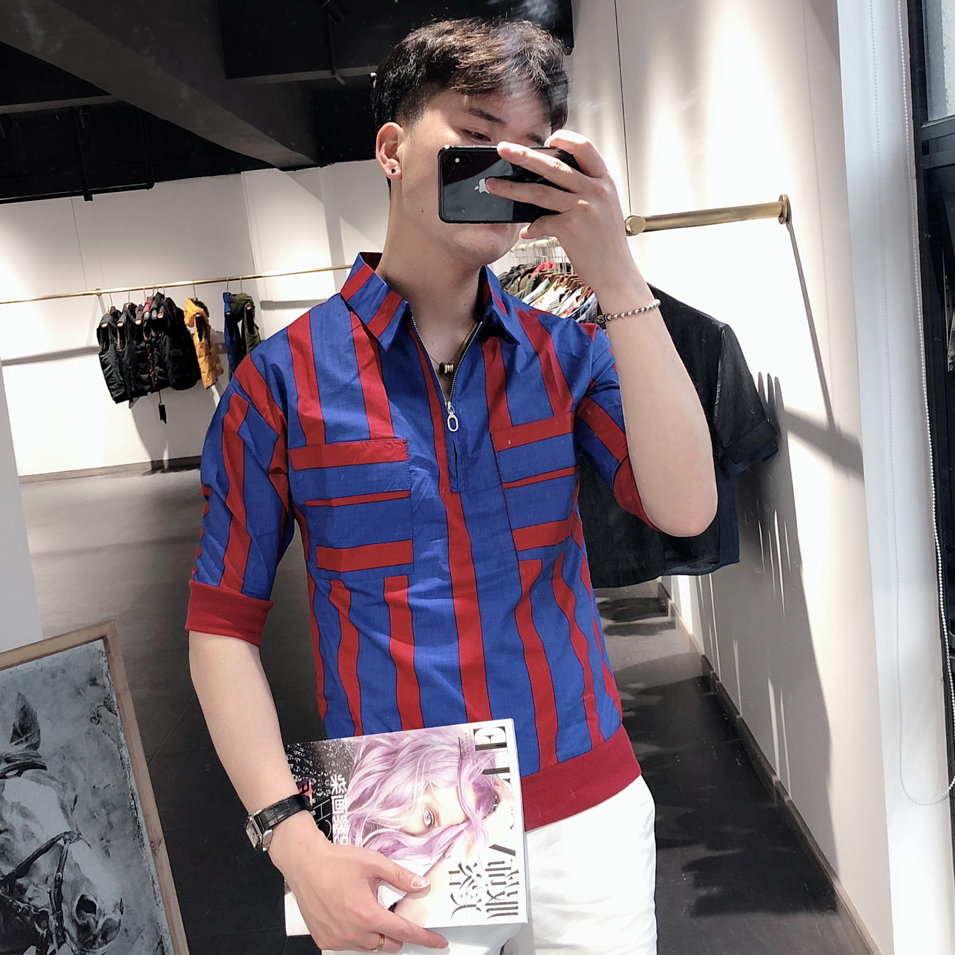 男装衬衫 20夏季短袖男衬衫韩版青年五分袖中袖套头条纹衬衣社会小伙上衣潮_推荐淘宝好看的男衬衫