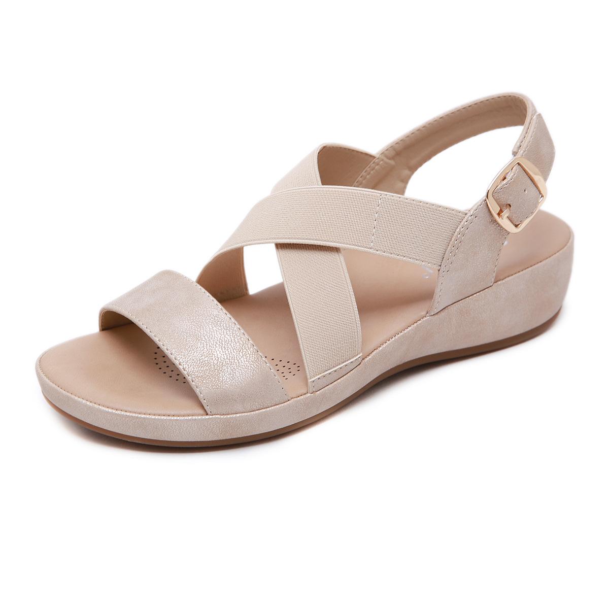 粉红色鱼嘴鞋 2020新款夏季韩版金粉红色露趾搭扣低帮牛筋底沙滩中跟坡跟女凉鞋_推荐淘宝好看的粉红色鱼嘴鞋