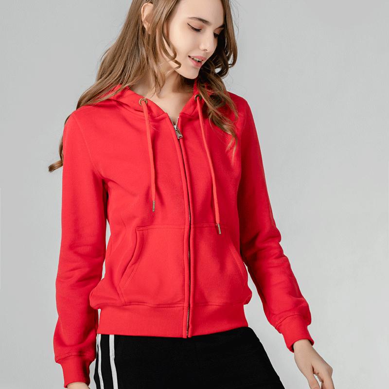 红色卫衣 2021春秋薄款连帽衫开衫女卫衣纯色休闲运动拉链红色学生外套上衣_推荐淘宝好看的红色卫衣