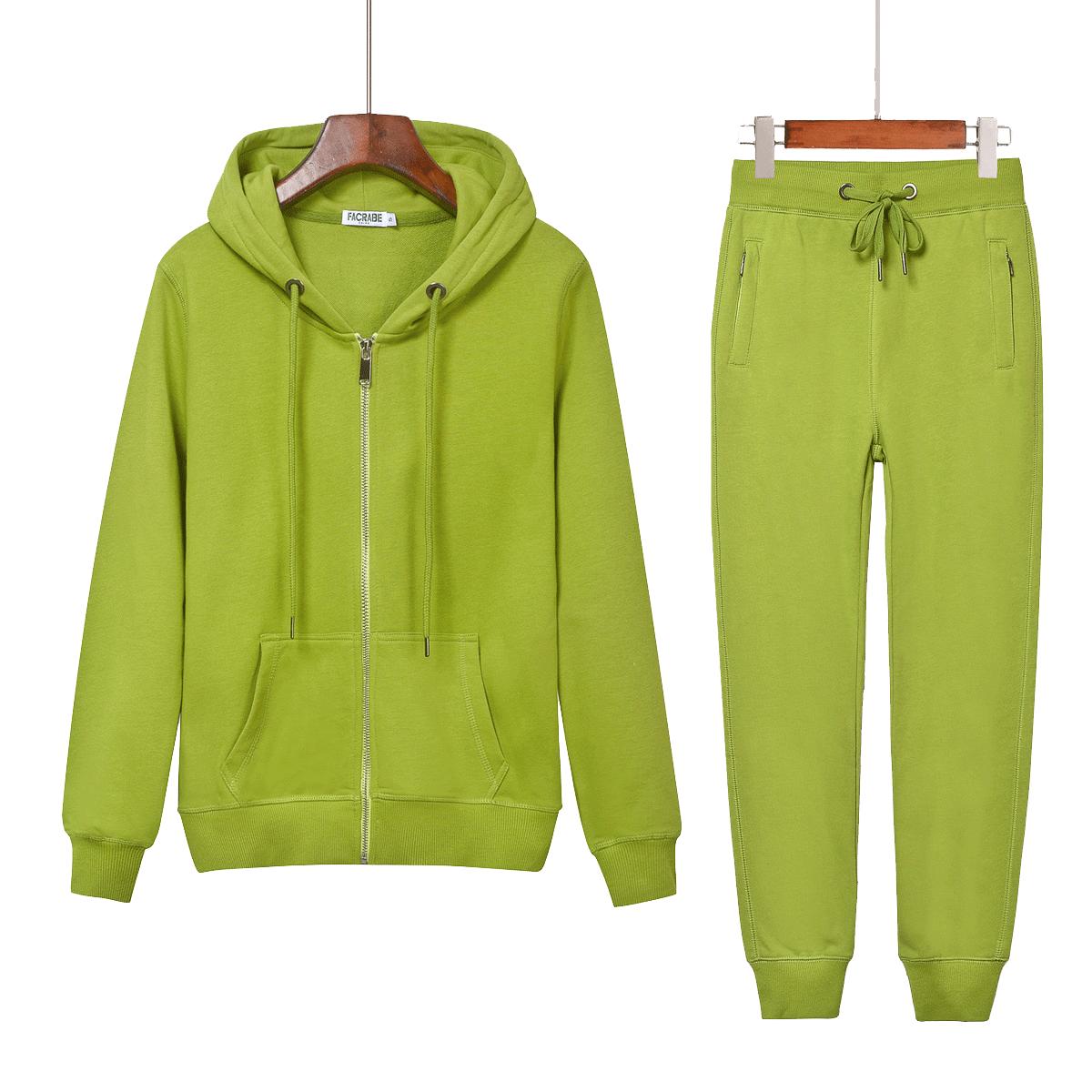 绿色卫衣 2021春秋薄款开衫女卫衣休闲运动套装牛油果绿色两件套百搭连帽衫_推荐淘宝好看的绿色卫衣