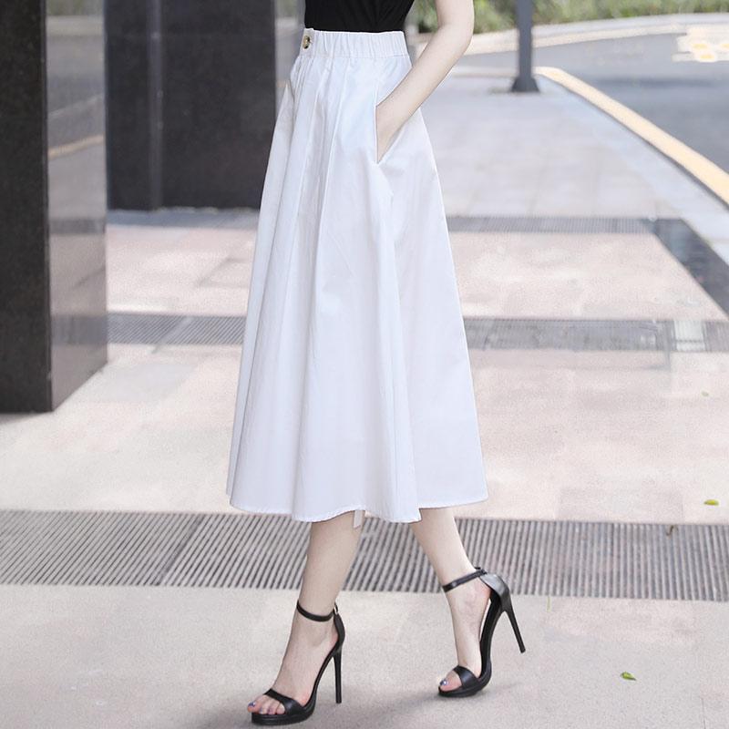 白色半身裙 2021春款新款今年流行的裙子女半裙中长款白色半身裙垂感裙a字夏_推荐淘宝好看的白色半身裙